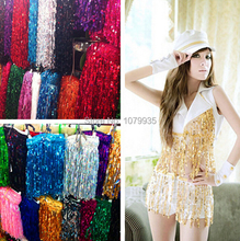 FREE SHIPPING 15yards15CM Width Stage Clothes Accessories polyester tassel fringe Sequin Trimming Lace For Diy Belly Dance Dress