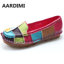 Buy Designer Handmade Patchwork Colorful Genuine Leather Shoes Women Loafers Retro Soft Bottom Flat Shoes Ballet Flats mujer for $29.74 in AliExpress store