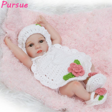 "Pursue 10""/28 cm Lovely Miniature Baby Dolls Reborn Girl Baby Doll Soft Vinyl Silicone Body Reborn Baby Dolls for Girls Cheap"