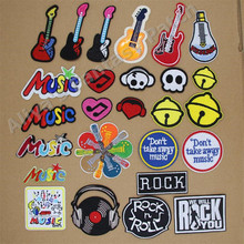 1 pcs Guitar Music Rock and Roll Bells embroidered iron on patches cloth accessories popular clothing bag hat Patches Appliques