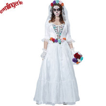 Free Shipping Halloween Costumes Ghost Bride Maid of Honor at Wedding Sex Woman Party Costume Exotic Apparel Hot Fashion Cosplay(China)
