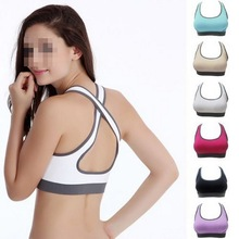 1 PCS Hot ! Multicolors ! Women Padded Top Athletic Vest Gym Fitness Sports Bra Stretch Cotton Seamless Free Shipping