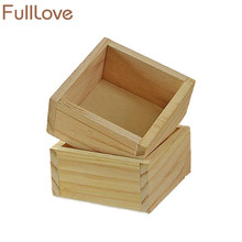 ROSEHOME 2PC/Set Square Wooden Storage Box Case Jewlery Holder Cosmetic Makeup Box Organizer Succulents Pots Planter Bonsai Case(China)