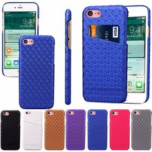 Leather Case for Iphone 7 4.7 inch Hard Cover Luxury Smart Card Money rhombus Grid Royal Bump Golden Business Men Lady New(China)