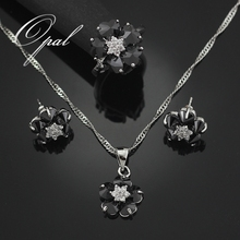 HAIMIS 2017 Hot Sale Black Onyx Flower Jewelry Sets For Women Silver Plated Necklace Pendant Earrings Rings Size 5.5 7.5 T002H