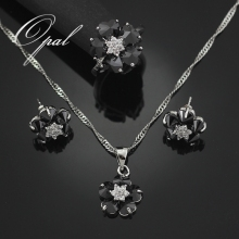 HAIMIS 2017 Hot Sale Black Onyx Flower Jewelry Sets For Women Silver Plated Necklace Pendant Earrings Rings Size 5.5 7.5 T002H(China)