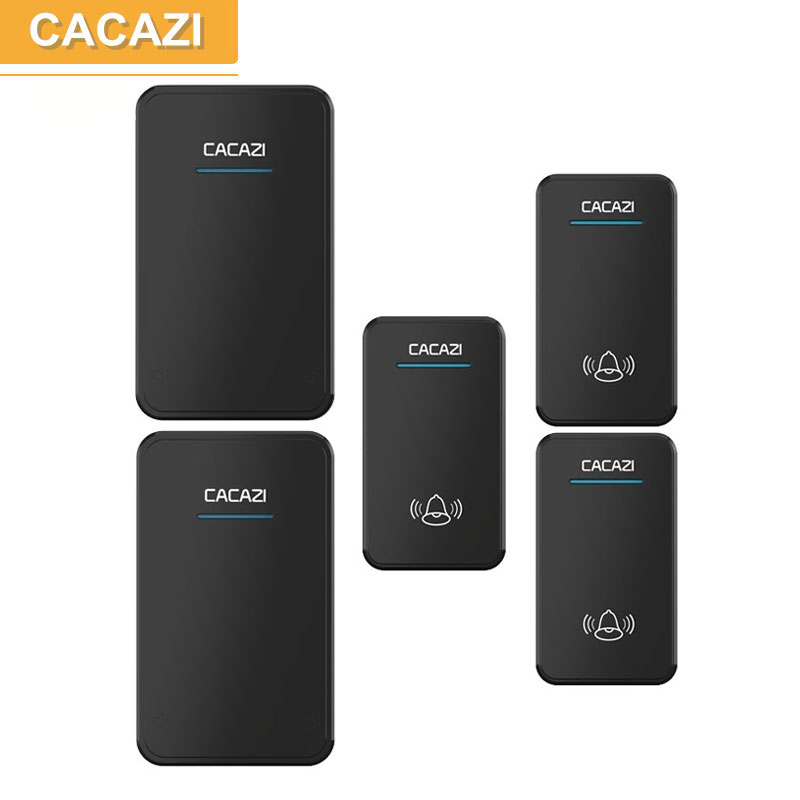 CACAZI 3 waterproof buttons+2 receivers AC 100-220V wireless doorbell EU US UK plug door ring 48 ringtones 6 volume door chime<br>