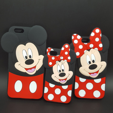 "3D Cartoon Mickey Minnie Mouse bow-knot Soft Silicone Cover For iPhone 4/4s/5/5s/SE/6/6s plus/7 plus 4.7 5.5"" Rubber Phone cases"