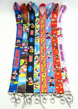 10 PCS Mickey&Minnie Mouse key lanyards id badge holder keychain straps for mobile phone Free Shipping