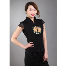 Fashion Lady Blouse shirt New Summer Chinese tradition Style Women's Embroider Flower top Black S M L XL XXL 3XL 021115(China)
