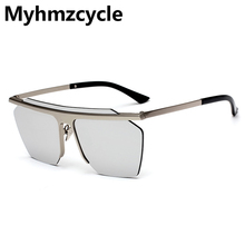 Myhmzcycle 2017 new Super cool personality Rimless Blade Sunglasses Men Weman Brand Designer Vintage Mirror Type Sun Glasses(China)
