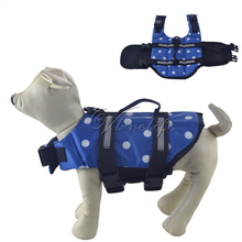 Blue Dots Dog Life Jacket & Pet Safety Vest Preserver Swimwear Preserver Aid Buoyancy Supply New Top Quality LIFE SAVING Jacket