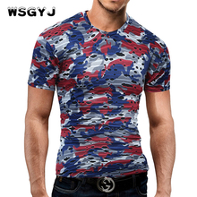 WSGYJ Male 2017 Brand Short Sleeve Camouflage Hole T Shirt V-Neck Slim Men T-Shirt Tops Fashion Mens Tee Shirt T Shirts 2XL