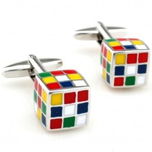 Fashion Enamel Superhero Metal Knots Magic Cube Cufflink Cuff Link 1 Pair Free Shipping Crazy Promotion(China)