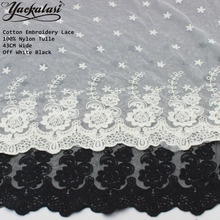 YACKALASI Cotton Embroidered Lace Fabric Soft Tulle Sewing Lace Butterfly Flower Skirt Apparel Trims Scalloped Appliqued 43CM