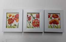 NEW100% hand-painted Home decoration oil painting on Small thin board Match framework  high quality  flowers 3pcs/set DM-928022