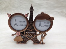 Wedding Favors Antique Copper Eiffel Tower With Love Heart 2 Photo Frame Couple Gifts Couple Photo Frame(China)