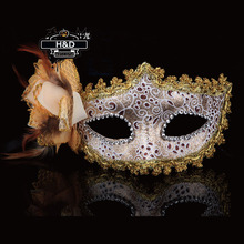 Floral Women Venetian Masquerade Masks Feathered Flower Princess for a Masked Ball Fancy Party Dress Lace Flower Lace Eye Mask