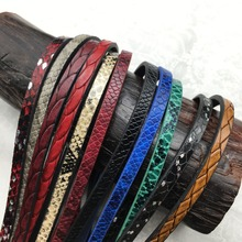 GUFEATHER 5mm Snake Print leather cord/jewelry accessories/jewelry findings/leather cords