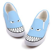 Drôle Conception Anime Fans Toile Chaussures Mocassins Graffiti Requin Poissons Étudiants Casual Appartements Kawaii Filles Marche Chaussures Slip On Zapato(China)