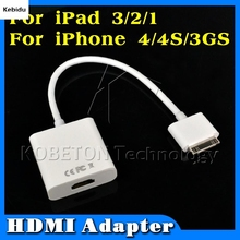 KM Dock Connector to HDMI Adapter Cable for iPad 3 2 1 iPhone4 4G for iPhone 4 4S for iPod Touch HDTV 1080P(China)