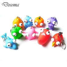 10 Pcs Creative Cartoon Animal Keychain Pop Out Eyes Doll Venting Decompression Squeeze Toys Anti Stress Extruding Kids Gifts