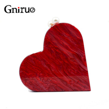 Unique Designer Acrylic Clutch Fashion Cute Red Heart Shape Pearl Chain Party Evening bag Women Shoulder Bags Hot Handbag Purses(China)