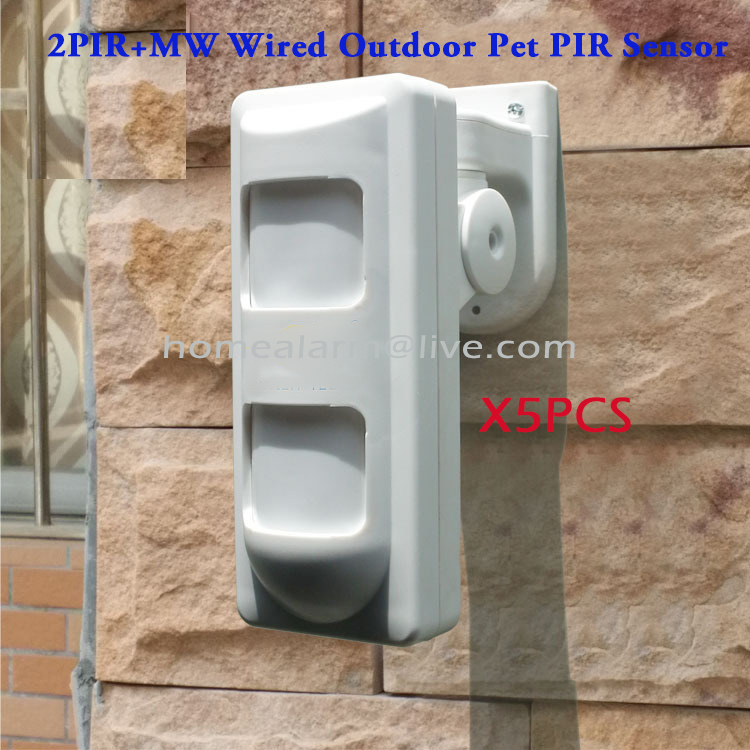 5pcs/lot Wired Outdoor Motion Detector 2 PIR + Microwave PIR Sensor for House Security Protection Alarme Systems,Free Shipping<br>