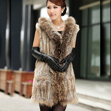 Genuine Knitted Rabbit Fur Vest With Hood Women Real Rabbit Fur Waistcoat With Natural Raccoon Fur Gilet Sale Discount(China)