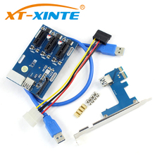 XT-XINTE PCIe 1 to 3 PCI Express 1X Slots Riser Card Mini ITX to External 3 PCI-e Slot Adapter PCIe Port Multiplier Card