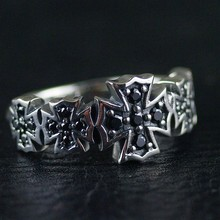 Thailand imported 925 sterling silver, Black Zircon Cross Silver Ring