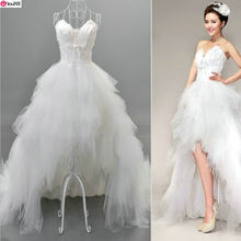 Hot Sale~Women's High Grade Front Short and Back Trailing Style Sweet Princess Wedding Dress/Bride Feather Wedding Gown