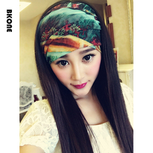 Boho Beach Headband Top Knot Hair Band Turban Silk Yarn Matching Headband Bandana Headwear Elastic Headwrap