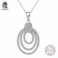 ORSA JEWELS Genuine Sterling Silver Women Necklace 925 Pendant With Chain Statement Bohemia Style AAA CZ Female Jewelry SN67(China)