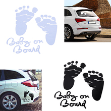 CITALL Car-styling Baby on Board Foot Sticker Car Body Laptop Window Wall Bumper Decor Prints Cute Decal(China)