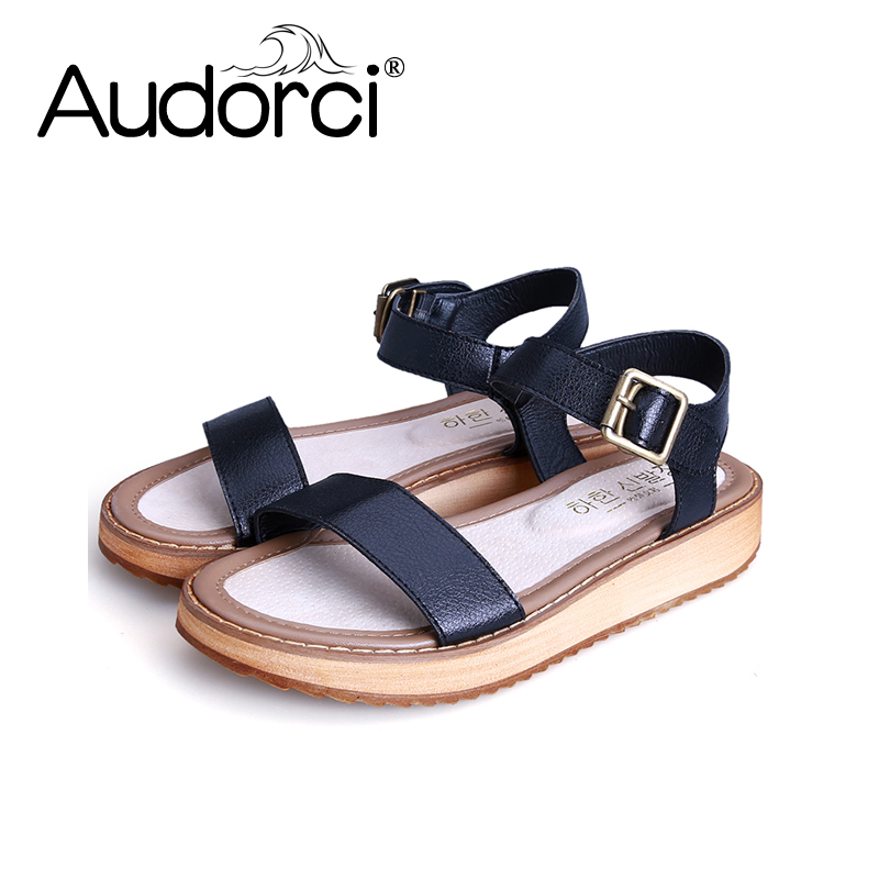 Audorci Woman Shoes 2018 High Quality Summer Women Sandals Comfortable Leather Flat Comfort Sandals Size34-43<br>