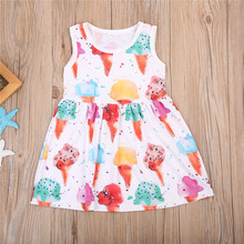 2017 news baby girl dress Lovely Kid Neonatal Girls Flower Random Ice Cream Dress Festive Princess Dress(China)