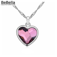 BeBella ancient pink heart pendant necklace Made with Austrian crystals from Swarovski for women 2017 women gift