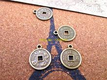 25pcs--17*14mm Antique bronze Chinese Ancient Coins Zheng Tong Lucky Coins For Wealth And Health Car Pendant Lucky Charm