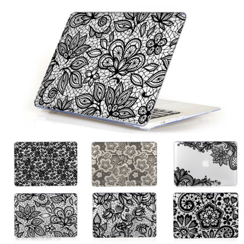 Black Lace Floral Pattern Cover Case For MacBook air 13.3  Laptop Sleeve Fit for macbook pro 13 15 Retina Air 11 12 inch<br><br>Aliexpress