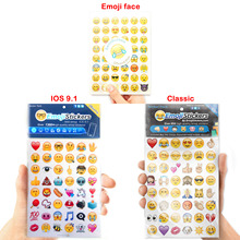 10 sheets/lot IOS 9.1 New fun Emoji Smile stickers (48 Die Cut ) Classic toys sticker for notebook message Vinyl funny creativ