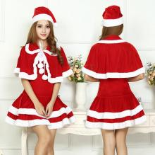 2016 New Arrival Sexy Christmas Costumes Santa Claus Suit 3PCS Disfraces Adultos Mujer Eroticos Dress+Shawl+Hat Hot Sales WL153