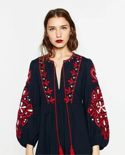Milan Paris Fashion Show Big Brand Dress Women Autumn Wear Casual Loose Vintage Dress Plus-size Red Flowers Embroidery Dress