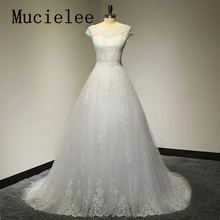 Mucielee Vestidos De Novia A Line Tulle Vintage Appliques Wedding Dress Sexy Wedding Dresses 2017 Robe De Mariage