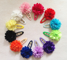 TIPPA fashion hand making fabrics flower BB clips satin mesh rose hairpins girls hair barrettes accessories