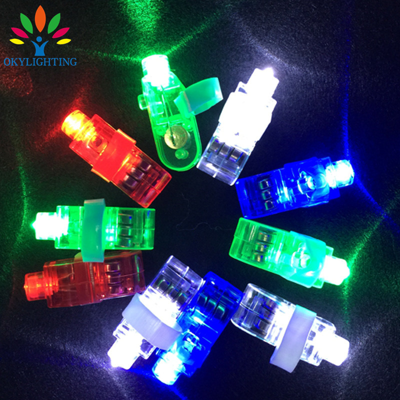 12pcs/lot Multi-color Bright LED laser Finger Ring toy Light Emitting Lamp Beams Torch For Party KTV Bar supplies finger light(China)