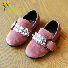 J Ghee Fashion Princess Girls Shoes Kids Single Shoes Buckle Rhinestone Sweet Children's Slip-on Sneakers Crystal Shoes Spring
