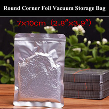 "100pcs 7x10cm (2.8""x3.9"") 220micron Small Open Top Aluminum Foil Vacuum Bag Heat Sealing Dried Goods Bag with Round Corner"