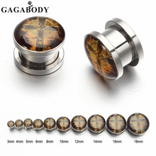 Christmas Gift GAGA 3~18mm Punk Stainless Steel Vintage Cross Screw Tunnel Plug Ear Expander Stretcher Piercing Gauge
