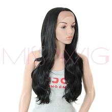 MISS WIG Long Wavy Lace Front Wig 3Color Available Synthetic Wigs For Black Women High Temperature Fiber